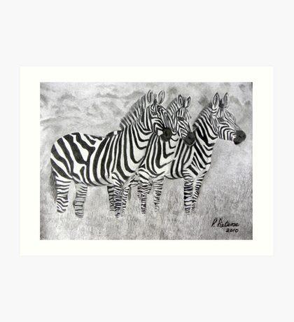 Happy Zebfamily ... Art Print