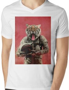 Space tiger Mens V-Neck T-Shirt