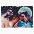 """""""Mustang Moon"""" Spanish Horses by Skye Ryan-Evans"""