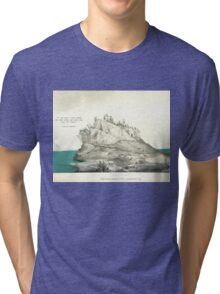 "Island mountain- Lewis Carroll quote- ""If you don't know where you are going any road can take you there""  Tri-blend T-Shirt"