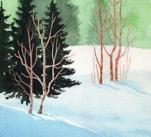 Sun, Snow And Finally Silence in The Woods - Aquarel by RainbowArt