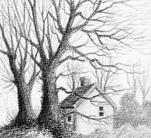 Winter Moments - Conté Drawing by RainbowArt