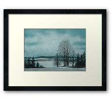 Winter in The Woods - Black And White Conté on Blue Paper Framed Print