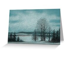 Winter in The Woods - Black And White Conté on Blue Paper Greeting Card