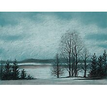 Winter in The Woods - Black And White Conté on Blue Paper Photographic Print
