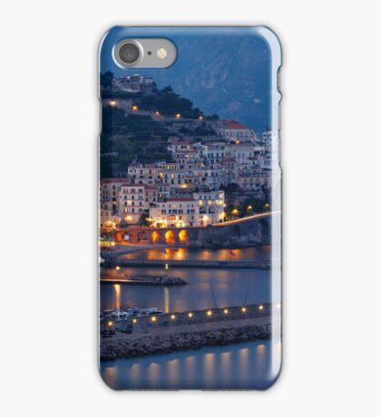 High Angle View of Amalfi at Night, Campania, Italy iPhone Case/Skin