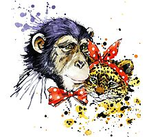 cool monkey and leopard T-shirt graphics. monkey illustration with splash watercolor textured Photographic Print