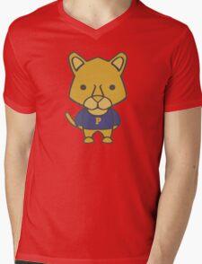 Panther Mascot Chibi Cartoon Mens V-Neck T-Shirt
