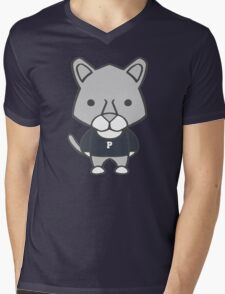 Lion Mascot Chibi Cartoon Mens V-Neck T-Shirt