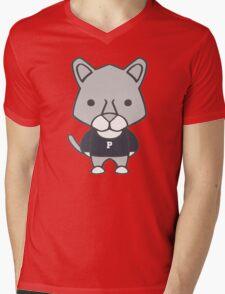 Lion Mascot Chibi Cartoon Mens V-Neck T-Shirt