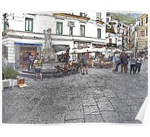 Amalfi: square with fountain Poster