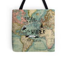 Not All Those Who Wander - Map Texture Tote Bag
