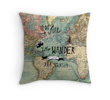 Not All Those Who Wander - Map Texture Throw Pillow