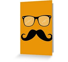 Geeky Mustache Guy Greeting Card
