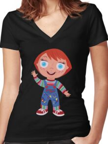 Chucky the Good Guys Doll Women's Fitted V-Neck T-Shirt