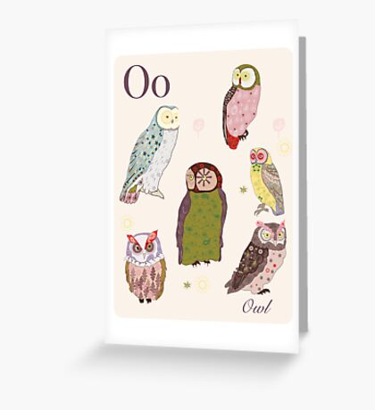 alphabet poster - owls Greeting Card