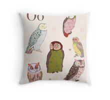 alphabet poster - owls Throw Pillow