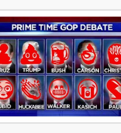 "Candidates for the American Prime Time ""Debate"" for the 2016 Presidential Election Sticker"