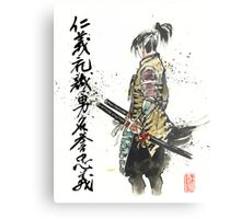 Japanese Calligraphy with Samurai with sword Metal Print