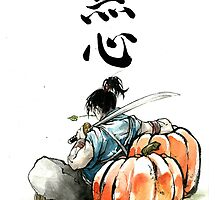 Japansese Calligraphy MUSHIN with Samurai and Pumpkin by jhjjjoo