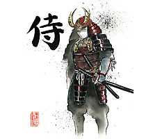Japanese Calligraphy with Armored Samurai with sword Photographic Print