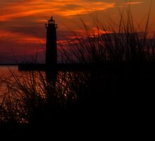 Muskegon Lighthouse Sunset by Kadwell