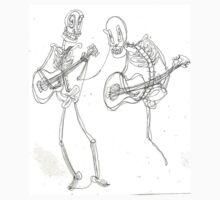 two skeletons playing guitars by Jemma Brock