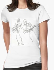 two skeletons playing guitars Womens Fitted T-Shirt