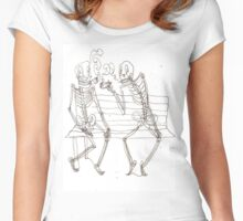 two skeletons smoking cigars Women's Fitted Scoop T-Shirt