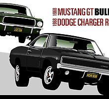 Mustang and Charger from Bullitt by car2oonz