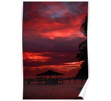Red sunset, Praslin Poster