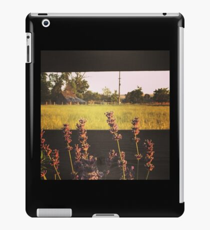 Fence line of purple flowers at sunset in Washington State iPad Case/Skin