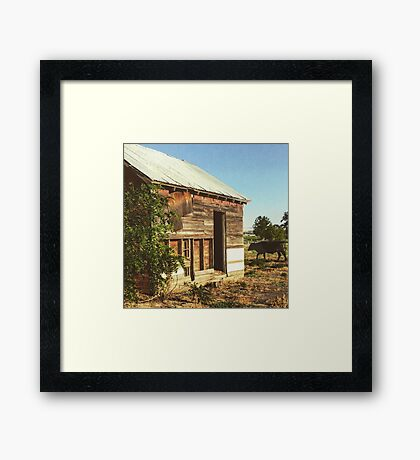 Distressed Red Barn Located in Washington State Framed Print