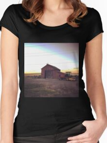 Countryside at dusk in Washington State  Women's Fitted Scoop T-Shirt