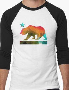 California State Flag Bear (fractal angles) Men's Baseball ¾ T-Shirt