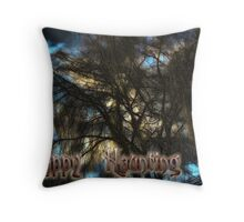 Happy Haunting Card Throw Pillow