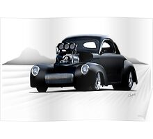 1941 Willys Coupe 'Dry Lake Competition' Poster