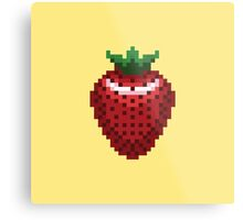 8-bit Strawberry Metal Print