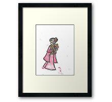 Kimono girl with flowers Framed Print