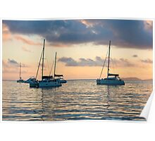 Recreational Yachts at the Indian Ocean Poster