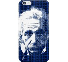 Albert Einstein Portrait with blue text background  iPhone Case/Skin