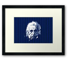 Albert Einstein Portrait with blue text background  Framed Print