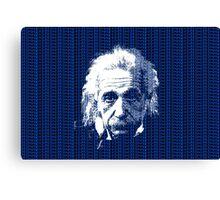 Albert Einstein Portrait with blue text background  Canvas Print