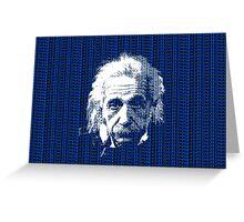 Albert Einstein Portrait with blue text background  Greeting Card
