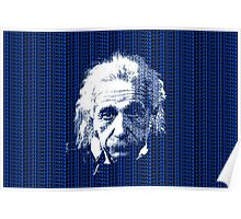 Albert Einstein Portrait with blue text background  Poster