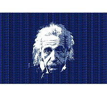 Albert Einstein Portrait with blue text background  Photographic Print