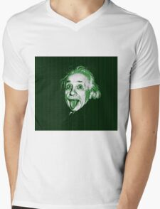Albert Einstein Portrait pulling tongue and green text background  Mens V-Neck T-Shirt