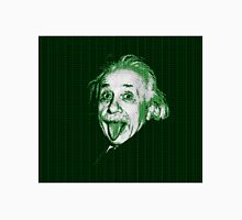 Albert Einstein Portrait pulling tongue and green text background  Unisex T-Shirt
