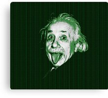 Albert Einstein Portrait pulling tongue and green text background  Canvas Print