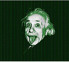 Albert Einstein Portrait pulling tongue and green text background  Photographic Print